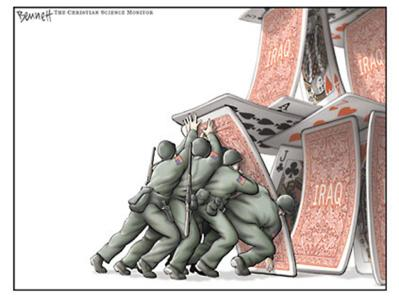 US soldiers trying to prop up the house of cards that Bush made  |  Cartoon by Clay Bennett; taking off on the iconic Joe Rosenthal's Iwo Jima Pulitzer Prize photograph taken on February 23, 1945, of US Marines raising the US flag  |  Click for image.